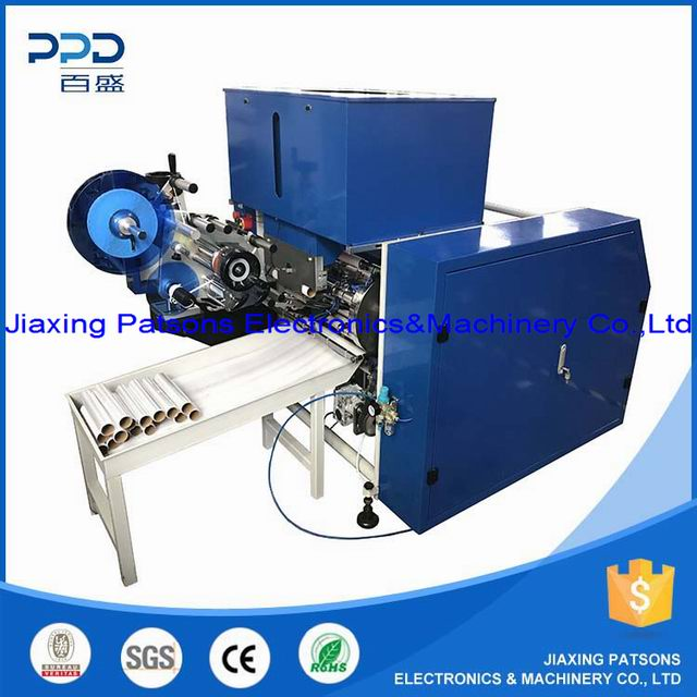Automatic food stretch wrap film roll dotting&labeling&rewinding machine, PPD-ACR450L