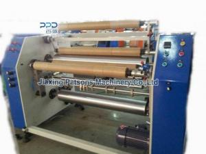 Automatic core exchange stretch film slitter rewinder machine