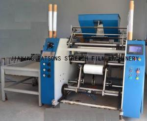 Automatic extended core stretch wrap film rewinder