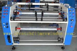 Semi automatic stretch&cling film slitting&rewinding machine
